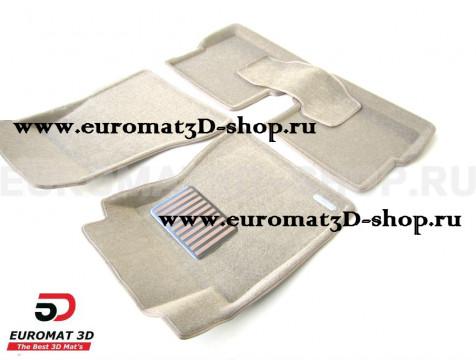 Текстильные 3D коврики Euromat3D Lux в салон для Cadillac CTS (2007-) (2WD) № EM3D-001301T Бежевый