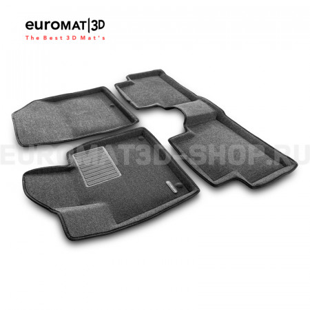 Текстильные 3D коврики Euromat3D Business в салон для Kia Sorento (2020-) № EMC3D-002900G Серые