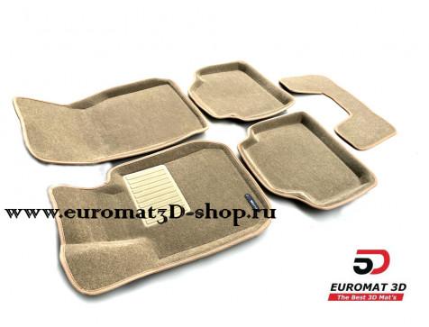 Текстильные 3D коврики Euromat3D Business в салон для BMW 3 (F30) (2010-) № EMC3D-001202T Бежевые